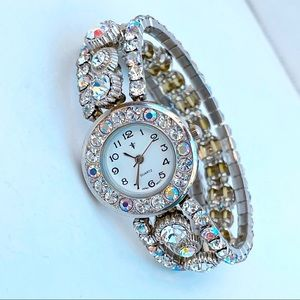 Vintage Jewel watch elastic iridescent diamond